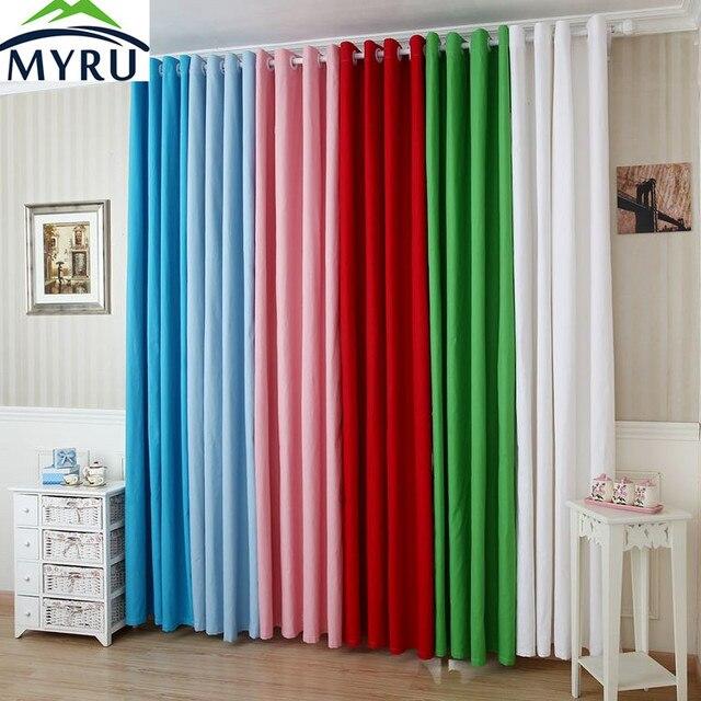MYRU Nieuwe effen kleur canvas doek gordijnen semi schaduw gordijnen ...