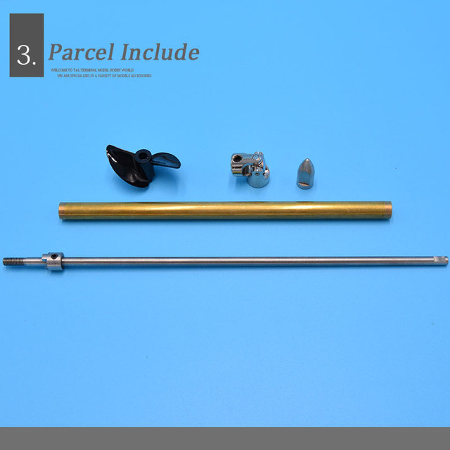Boat 4mm Stainless Steel  Ship Shaft Drive Shaft +Two Blades propeller +Copper Shaft Sleeve+Universal Joint+Gasket/set
