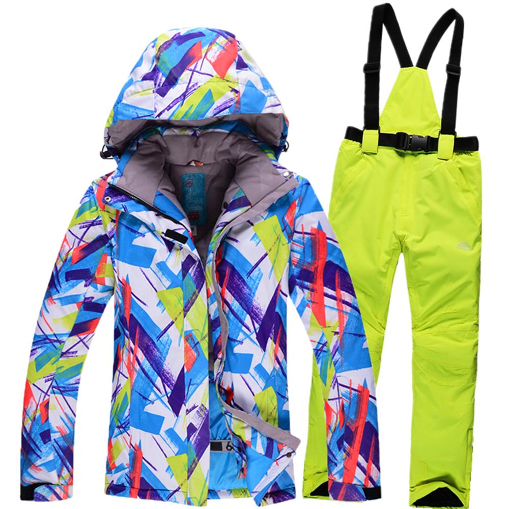 ski set women ski jacket and pant sets water and windproof snowboard suits skiing coats jackets 2015 winter thicken warm ski jacket women ski pant windproof waterproof snowboard suits snow wear ladies ski jacket sets outdoor suits