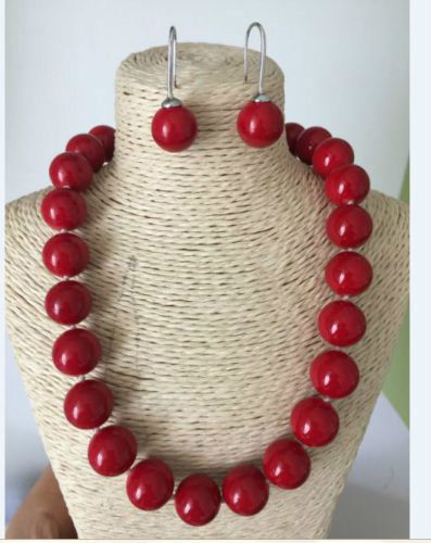 beautiful 16 mm red coral necklace 18 earrings setbeautiful 16 mm red coral necklace 18 earrings set