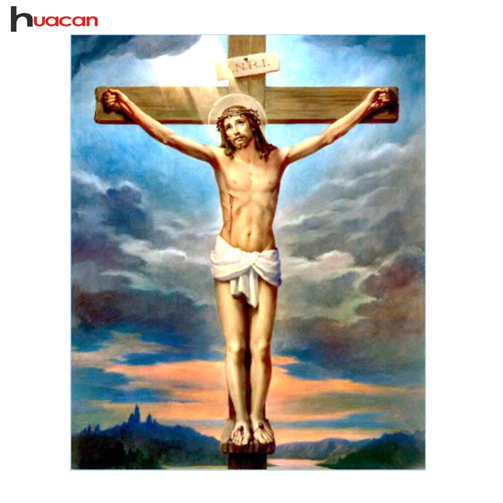 HUACAN Diamante Pittura Religione Cristiana Gesù Decorazione Della Parete Piena di Diamanti Ricamo A Punto Croce Serie di Ritratti Ago Regali