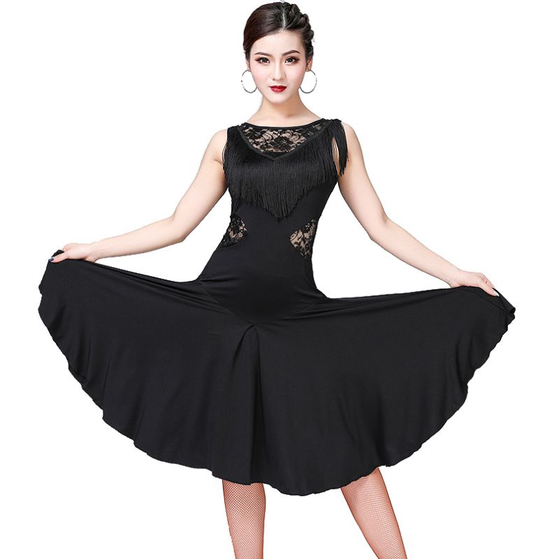Women Dancewear Lace Perspective Short-Sleeved Shirt + Fringed Latin Dance Skirt Performance Exercise Clothes Two-Piece