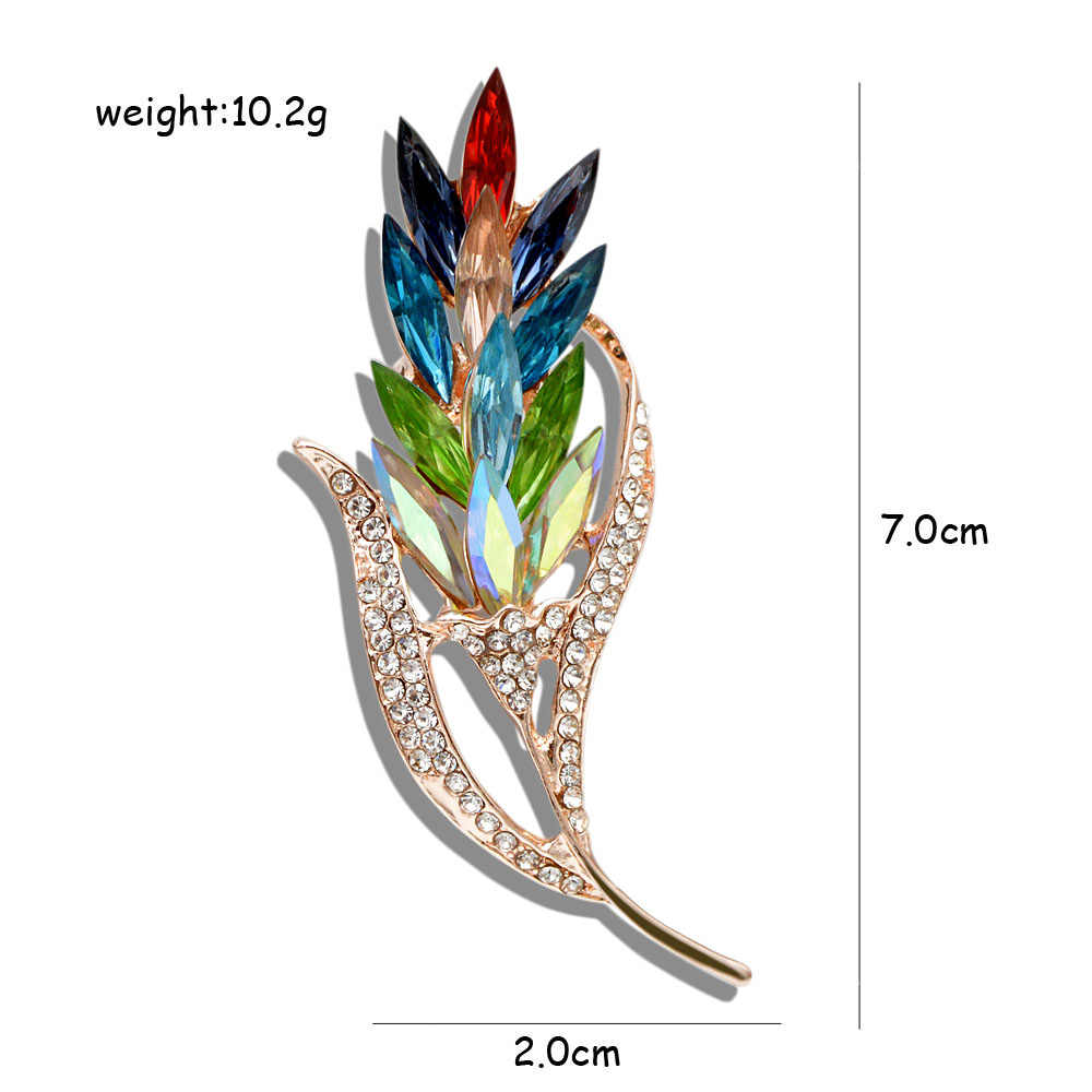 CINDY XIANG Multi-color Crystal Wheat Brooches for Women Rhinestone Brooch Pin Fashion Jewelry Coat Dress Corsage Flower Style