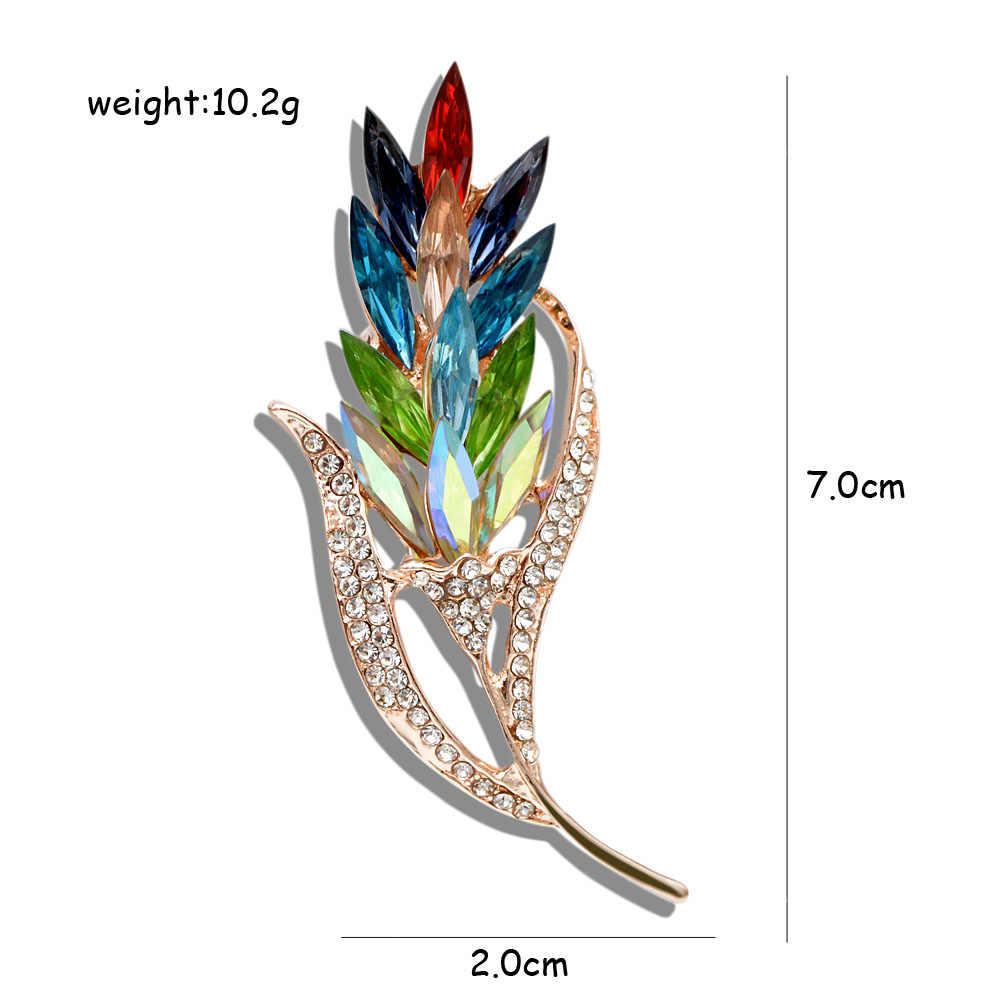 Cindy Xiang Multi-Warna Kristal Gandum Bros untuk Wanita Rhinestone Bros Pin Fashion Perhiasan Gaun Mantel Korsase Bunga