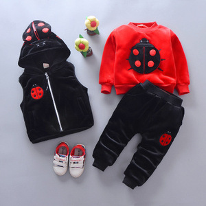 Image 2 - 2019 winter baby Clothing Sets ladybug cotton Christmas Snowsuit Thicken Warm Sweatshirt Suit for girl boy 3pcs/set Kids Clothes