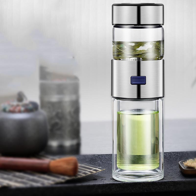 Brief Tea Water Separately Bottle Clear Double Wall Glass Bottle Water Bottle With Steel Stainless Filter Kit Tea Cup Glass Mug