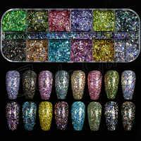 12 Grids/set Holo Irregular Mermaid Colorful Laser Nail Flakes 3D Nail Art Glitter Gel Polish Manicure DIY Decor Sequins