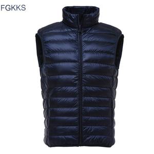 Image 2 - FGKKS אופנה מותג גברים מעיל אפוד חזייה למטה מעיל 2020 סתיו חורף זכר מעיל מוצק צבע ללא שרוולים מזדמן גברים של אפוד