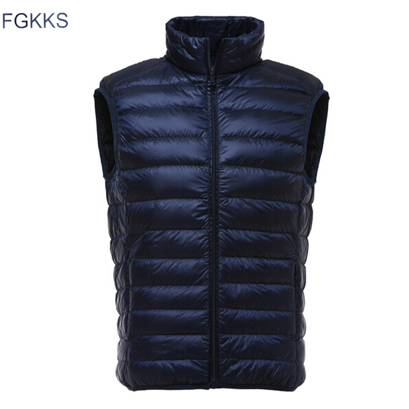 Image 2 - FGKKS Fashion Brand Men Vest Jacket Waistcoat Down Jacket 2019 Autumn Winter Male Coat Solid Color Sleeveless Casual Men's Vest-in Down Jackets from Men's Clothing