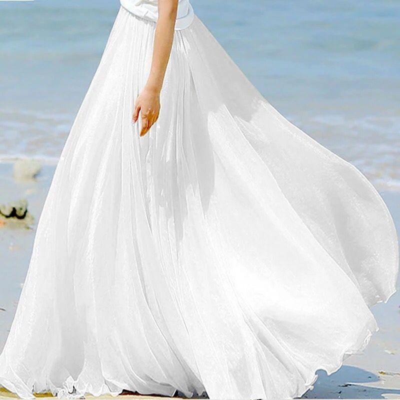 Maxi Skirt Boho Chiffon Ruffles Summer Floor-Length White High-Waist Women Saia Faldas