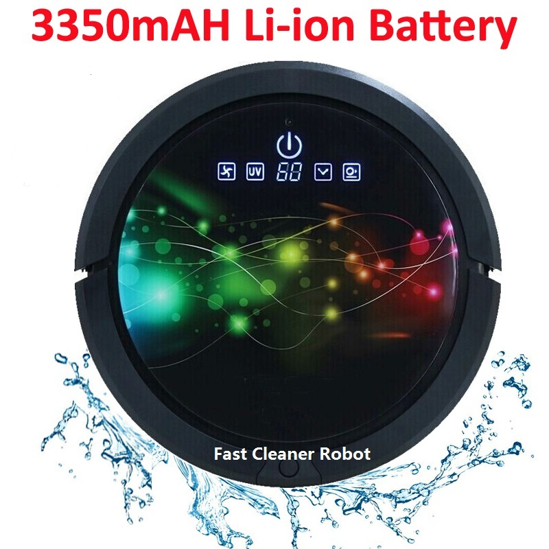 Remote Control Wet And Dry Smart Vacuum Cleaner Robot With 3350mAH Li ion Battery Water Tank