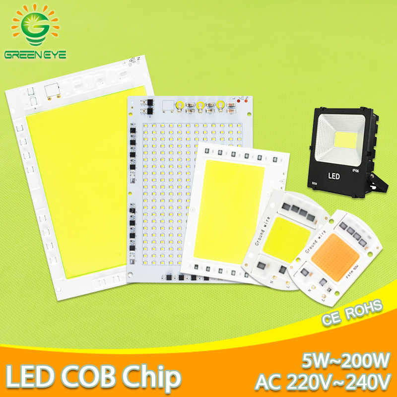 GreenEye AC 220V 5W~100W Integrated COB LED Lamp Chip 50W 30W 20W 10W Smart IC Driver High Lumens For DIY Floodlight Spotlight