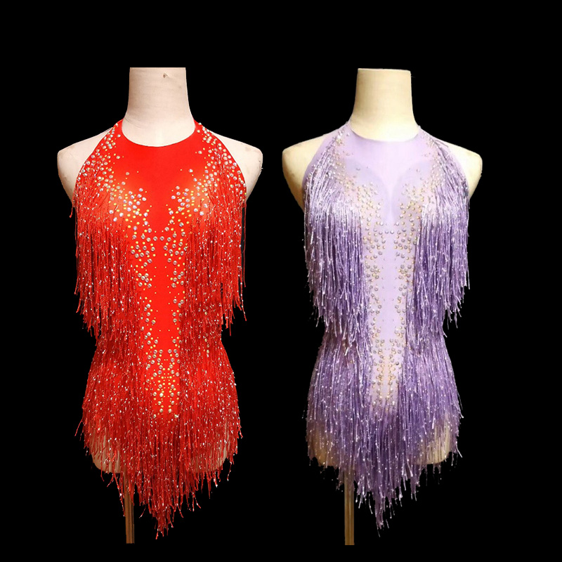 New Purple Red Shining Fringes Rhinestones Bodysuit Dance Show One-piece Sexy Costume Women's Performance Leotard Freeshipping