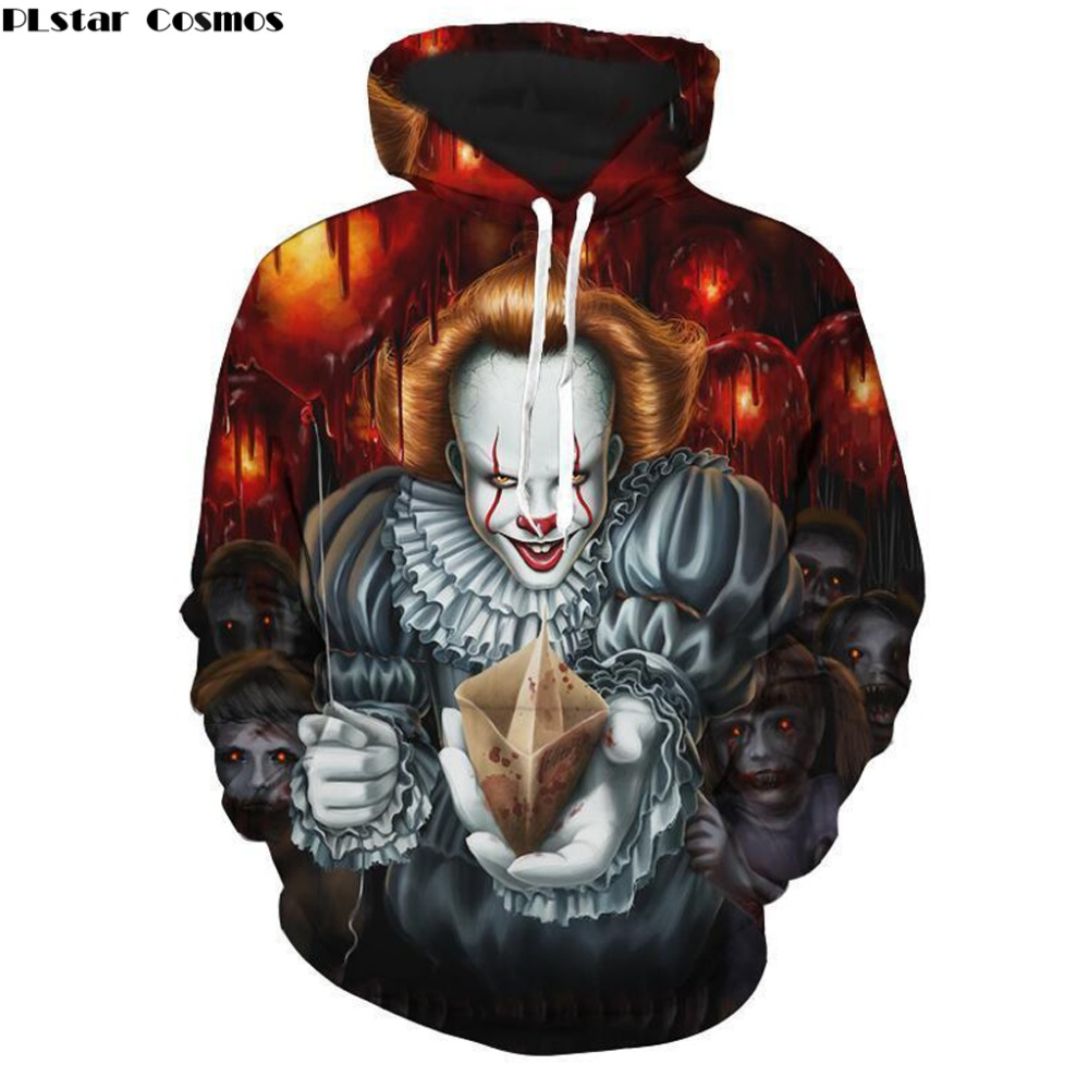 Creative Plstar Cosmos 2018 New Fashion Men Hoodie Horror Movie Stephen Kings It Funny Clown 3d Print Men/women Casual Sweatshirt Men's Clothing