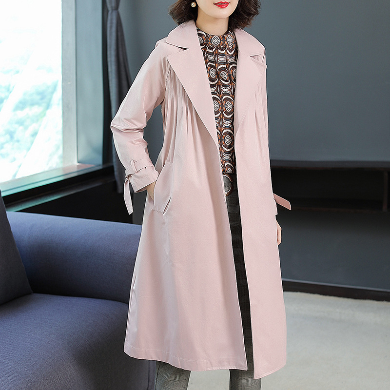 Solid Turn Down Collar Adjustable Loose A Line Long Trench Coats 2018 New Full Sleeve Plus Size Women Autumn Trench Coats