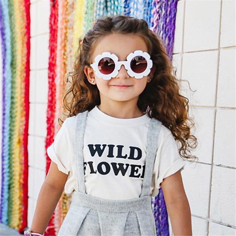2019 NEW Sun Flower Round Cute kids  Vintage Round Sunglasses Fashion  Children Sun Glasses For Boy Girls  Infant Eyewear UV400