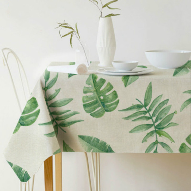 Table cloth Rectangular Pastoral style Tropical Plants Printed Christmas Tablecloth Home Protection and decoration Table cover