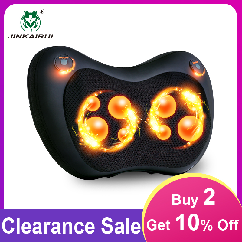 jinkairui pillow massager with shiatsu deep kneading heat massage for relieving back neck shoulder pain