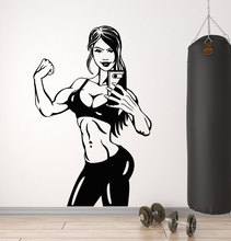 Vinyl wall applique gym body sexy woman fashion tide girl sports mirror sticker decoration room mural  JSF21