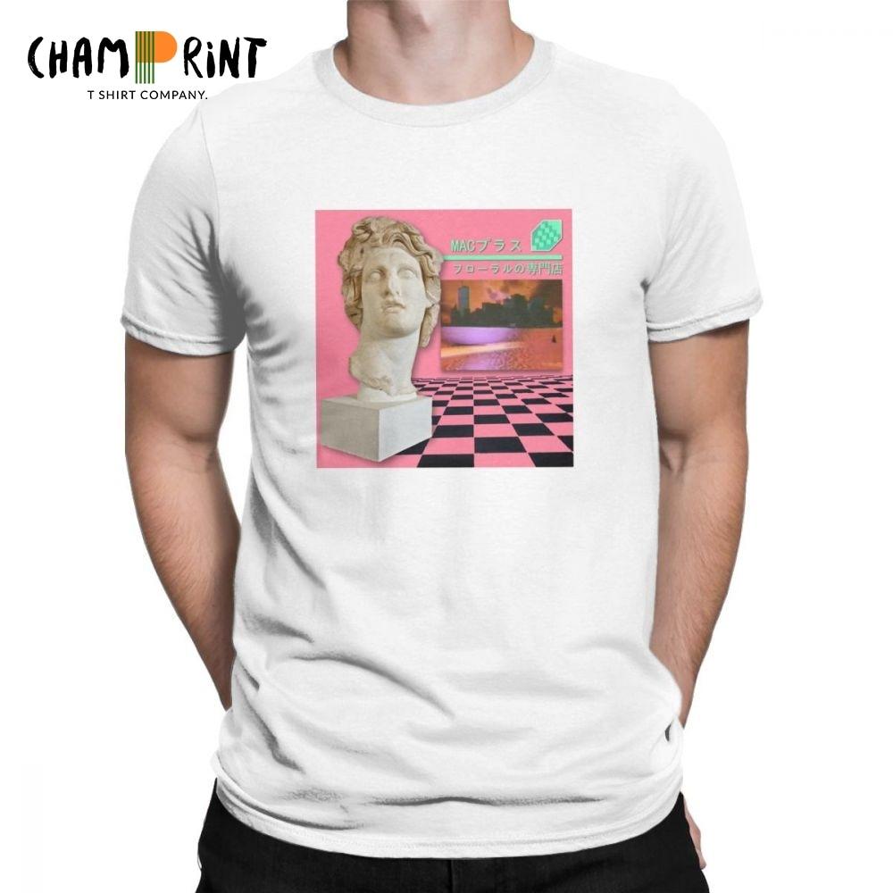 Men's   T     Shirts   Macintosh Plus Floral Shoppe Leisure Short Sleeve Vaporwave Tee   Shirt   Crew Neck Tops 100% Cotton Printed   T  -  Shirt