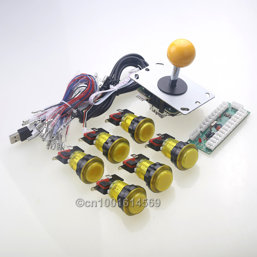 New Zero Delay USB Encoder إلى ألعاب جويستيك PC + 5 Pin Arcade Gamepads + 6 x LED Buttons Mini Table Top Arcade Project Project
