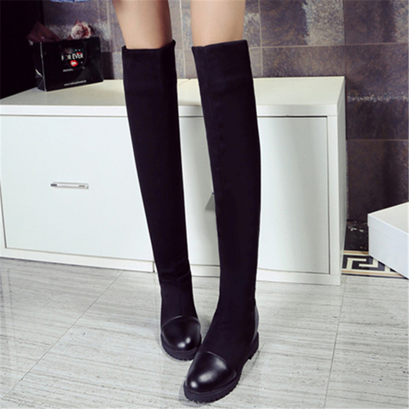 2018 Autumn Women's high-quality elastic material platform women's boots 2017 new knee boots with high boots with height 2018 autumn