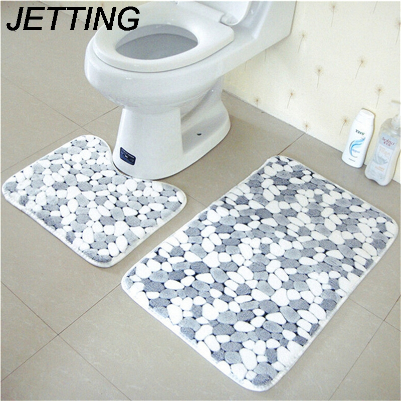 2pcs Cotton Pebble shape Absorbent Soft Bath Pedestal Mat Toilet Non Slip Floor Rug Set Washable Sanitary Ware Suite HOT