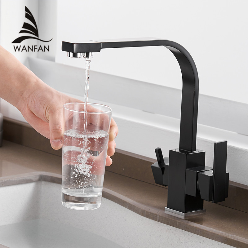 Kitchen Faucets Deck Mounted Mixer Tap 360 Degree Rotation with Water Purification Features Mixer Tap Crane