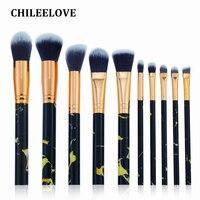 CHILEELOVE 10 Pcs New 4 Colors Marble Stripe Pro Beauty Tool Makeup Brushes Kits Blush Bulk