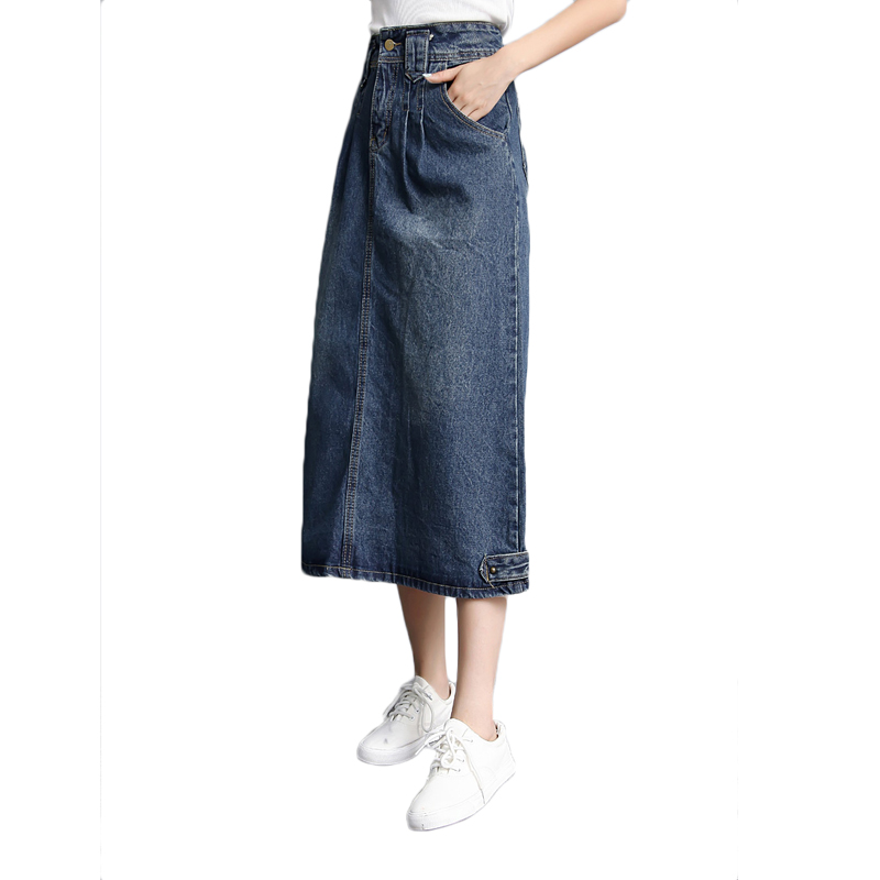 59a62883e21 Spring Autumn Jeans skirt Denim Long Skirt High Waist Jeans Maxi Skirts  Saias jean Longa Feminina Casual Jeans Jupe WICCON -in Skirts from Women's  Clothing ...