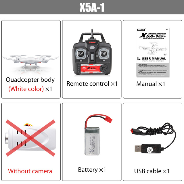 Original Syma X5A-1 (Not X5A) Drone 2.4G 4CH RC Helicopter Quadcopter with No Camera, Aircraft Dron for Novice Ship from Russia