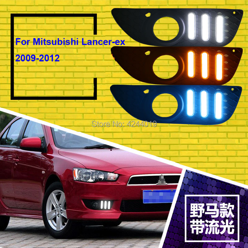 Fits 2009-2012 Mitsubishi Lancer Day Light Fog Lights Fog Lamps LED Driving Light DRL Daytime Running Lights Yellow Turn Signal led drl day lights for mitsubishi asx 2013 2014 2015 daytime running light driving fog run lamp with yellow turn signal