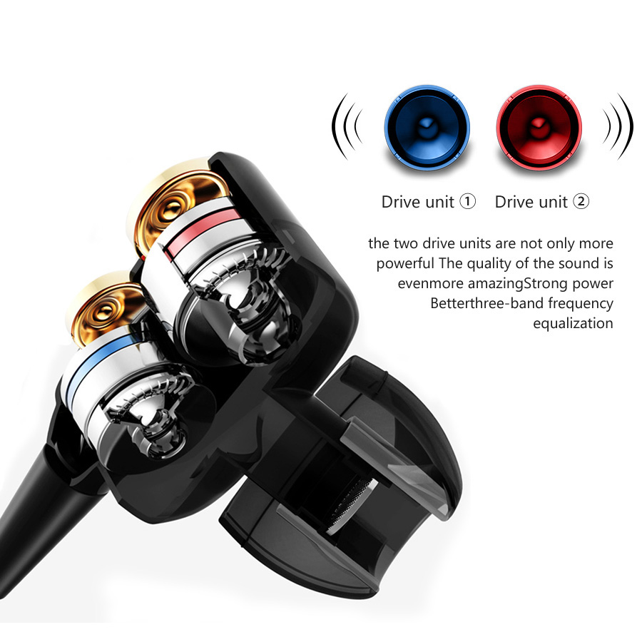 FBYEG Bluetooth Earphone Wireless Headphones Four Unit Drive Double Dynamic Hybrid Deep Bass Sport Earphone For Phone With Mic