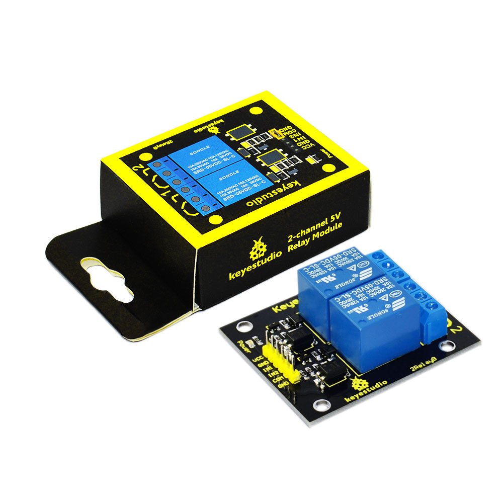 Free shipping! 2016 NEW! Keyestudio Dual 5V Relay Module for Arduino