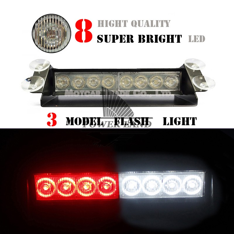 Universal Fit Car Truck Vehicle 8 LED Dash Strobe Warning 3 Model Flash Emergency Light DC 12V Red White For Ford Dodge VW 1063