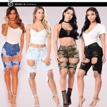 2018 Новый Для женщин Повседневное джинсовые разрушенные бермуды Шорты для женщин Рваные джинсы