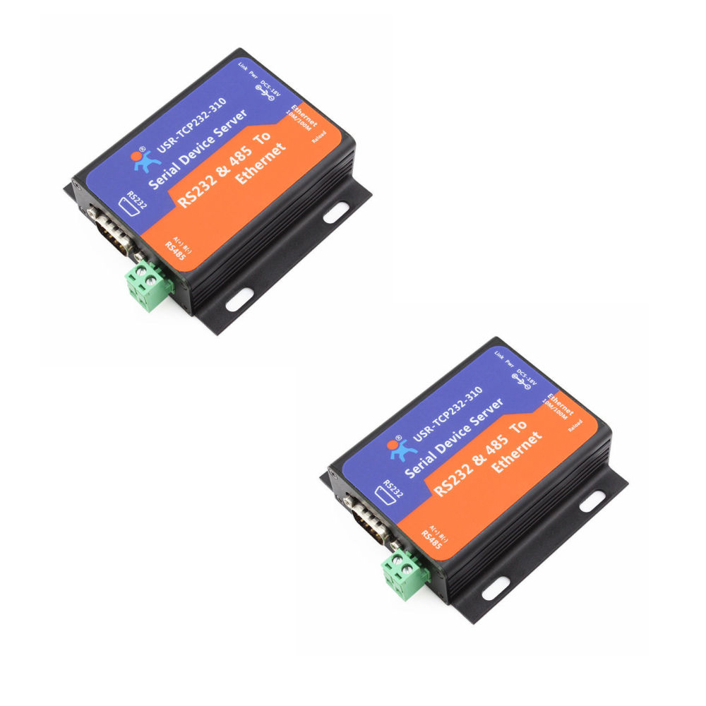 F16370-2 2PCS USR-TCP232-310 Serial RS232/RS485 to Ethernet TCP/IP Server with DHCP and Built-in Webpage