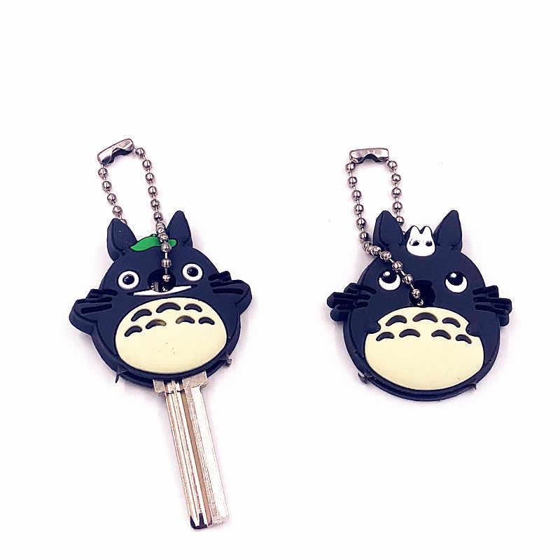 2 pçs/set Tampa Chave Tampa de Silicone Dos Desenhos Animados Anime Bonito Totoro Urso Chaveiro Dom Mulheres Porte Clef Chaveiro Chave Anel