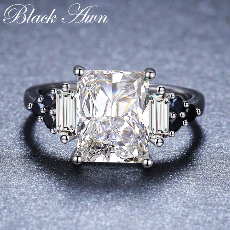 288245ca838f Cheap 2019 nueva flor de Plata de Ley 925 joyería fina de espinela negro  ronda anillo
