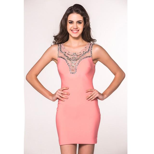 Coral Sexy Tight Vestidos de Fiesta Scoop Escote Con Cuentas ...