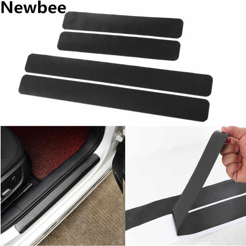 Newbee fibra de carbono PVC pegatina Universal coche raspado placa puerta alféizar Panel paso Protector para Benz Toyota VW Audi Ford Renault