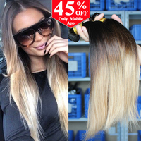 Ombre Human Hair Extensions 1B/4/27 Malaysian Virgin Hair Straight 3 Pcs Rosa Hair Products Ombre Malaysian Straight Hair Weaves