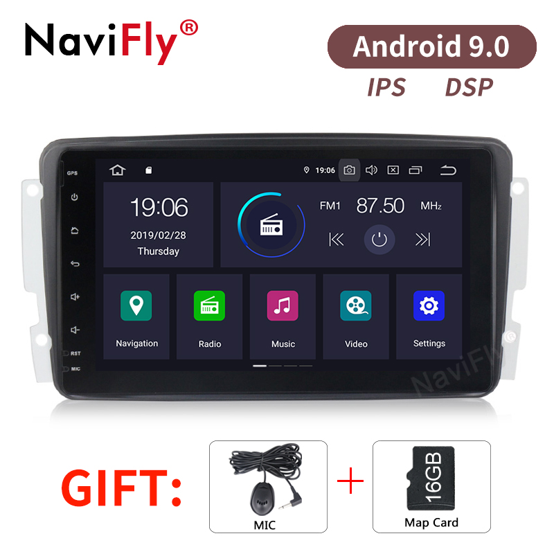NaviFly 8'' screen IPS/DSP Android9.0 Car Audio gps for Mercedes-benz W209 W203 W168 W463 Viano W639 Vito BT USB SD Free map