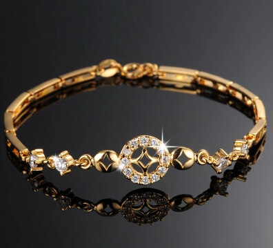 Luxury 18k Real Gold Plated Women Wedding Bracelet Simple Design