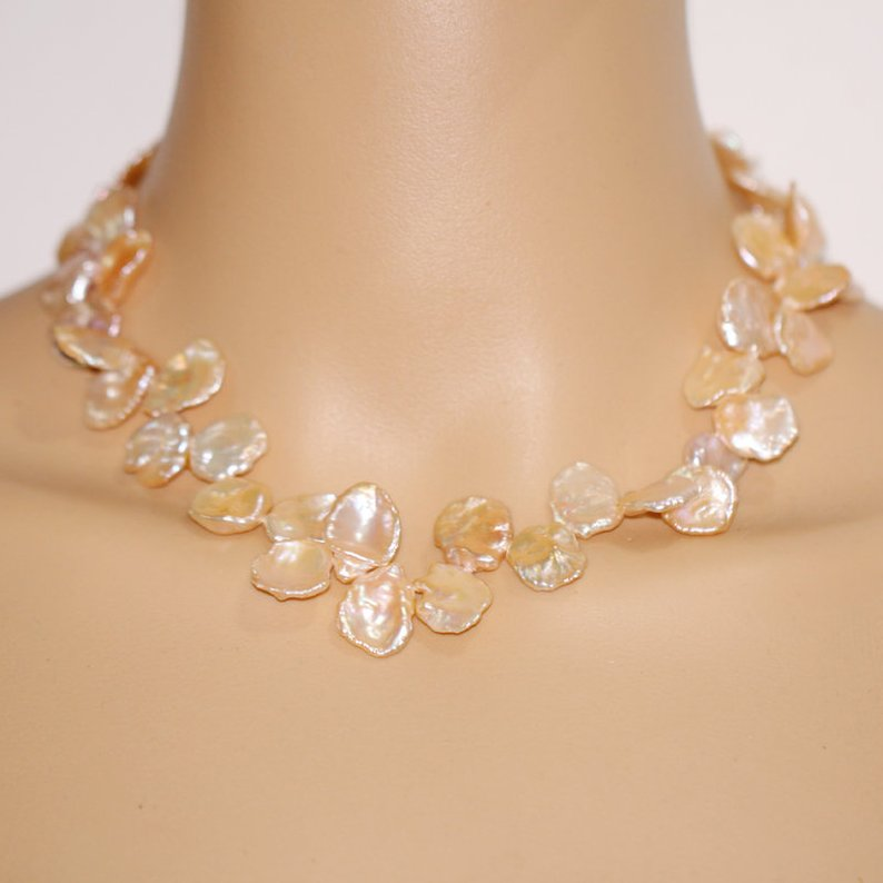 Bijouterie perles uniques, grand collier de perles rose Baroque, bijoux ras du cou perle Keshi 13-15mm, livraison gratuite