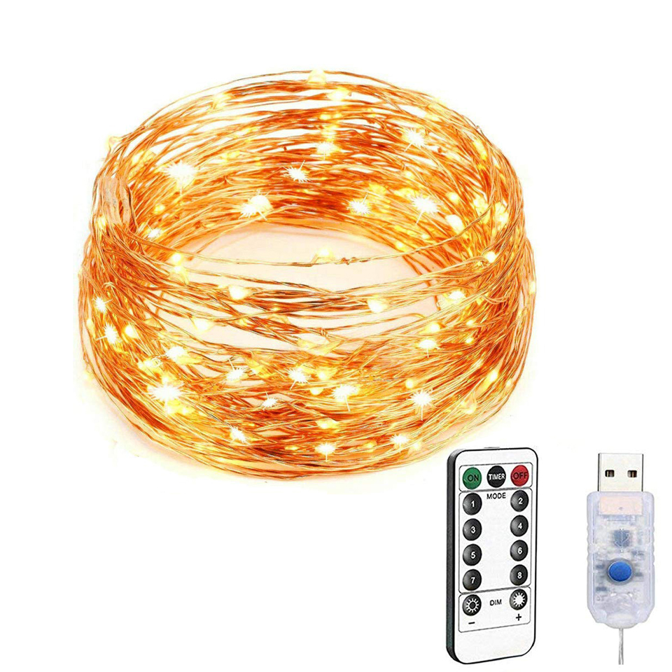 LED Fairy Light 8 Modes String Lights 50 100 200 LEDs Waterproof USB Interface Remote Control Decorative Copper Wire Mini Lights