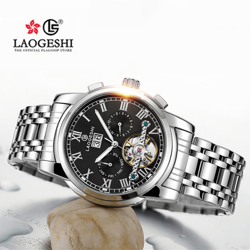 LAOGESHI  Mens Automatic Mechanical Fashion Top Brand Sports Watches Luxury Tourbillon Stainless Steel Watch Ancient Roman StyleLAOGESHI  Mens Automatic Mechanical Fashion Top Brand Sports Watches Luxury Tourbillon Stainless Steel Watch Ancient Roman Style