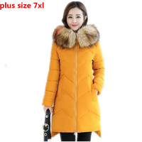 Plus Size 7XL New 2018 Fashion Women Winter Jackets Medium Long Coats Thicken Hooded Colorful Fur Collar Parkas Wadded CoatQ1112