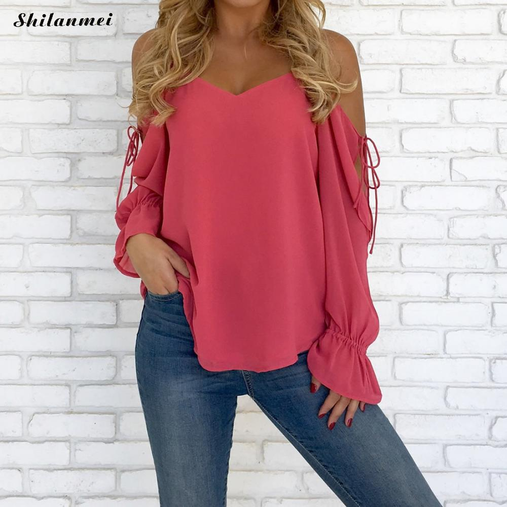 Chiffon Blouse 2018 Women Off Shoulder Tops Long Sleeve V Neck Work Wear Shirts Elegant Lady Blouses Casual Solid Color Blusas ...