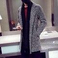 2016 Outono e Inverno Nova Alta Qualidade Cashmere Casaco Masculino fina Na Seção Longa de Lã Casaco de Colarinho Moda Terno sobretudo